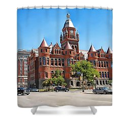 Shower Curtain featuring the photograph   Old Red Museum - Dallas  by Dyle   Warren