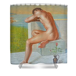 Original Classic Oil Painting Man Body Art  Male Nude And Vase #16-2-4-09 Shower Curtain