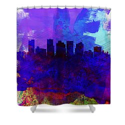 Phoenix Watercolor Skyline 1 Shower Curtain by Naxart Studio