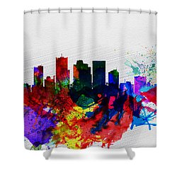 Phoenix Watercolor Skyline 2 Shower Curtain by Naxart Studio