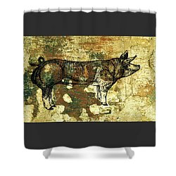 Shower Curtain featuring the photograph  German Pietrain Boar 27 by Larry Campbell