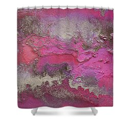 Pink And Gold Abstract Painting Shower Curtain