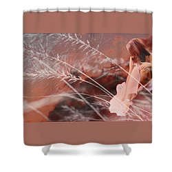 Woman In Pink Field Shower Curtain