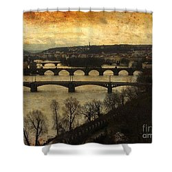 Vintage Prague Vltava River Shower Curtain