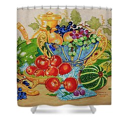 Red Apples And  Grapes Oil Painting Shower Curtain
