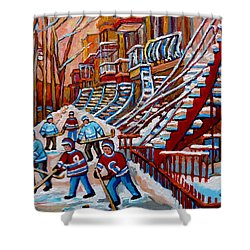 Red Staircases -paintings Of Verdun Montreal City Scene - Hockey Art - Winter Scenes  Shower Curtain by Carole Spandau