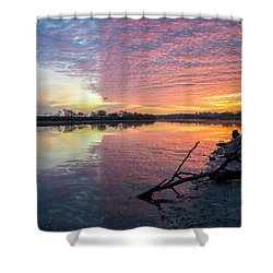 River Glows At Sunrise Shower Curtain