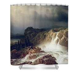 Rocky Landscape With Waterfall In Smaland Shower Curtain by Marcus Larson