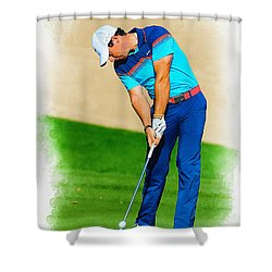 Rory Mcilroy Plays His Second Shot On The Par 4 Shower Curtain