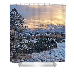 Sandia Mountains With Snow At Sunset Shower Curtain