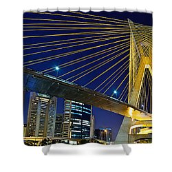 Sao Paulo's Iconic Cable-stayed Bridge  Shower Curtain