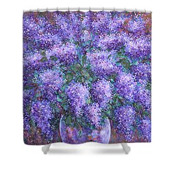 Shower Curtain featuring the painting  Scented Lilacs Bouquet by Natalie Holland