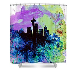 Seattle Watercolor Skyline 1 Shower Curtain by Naxart Studio