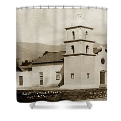 Shower Curtain featuring the photograph  St. Thomas Aquinas Catholic Church  Ojai Cal 1920 by California Views Mr Pat Hathaway Archives
