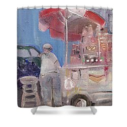 Stand On The Corner Shower Curtain by Leela Payne