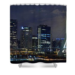 Supermoon In Sao Paulo - Brazil Skyline Shower Curtain