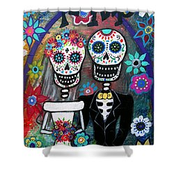 Te Amo Wedding Dia De Los Muertos Shower Curtain