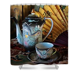 Tea And Calligraphy Shower Curtain