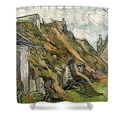 Thatched Cottages In Chaponval Shower Curtain by Vincent van Gogh