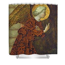 The Archangel Gabriel Shower Curtain by Tommaso Masolino da Panicale