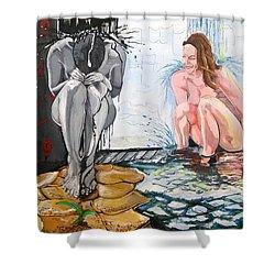 Shower Curtain featuring the painting  The Drizzle Of The States El Escurrir De Los Estados by Lazaro Hurtado