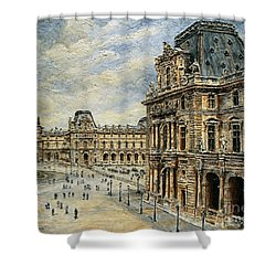 The Louvre Museum Shower Curtain by Joey Agbayani