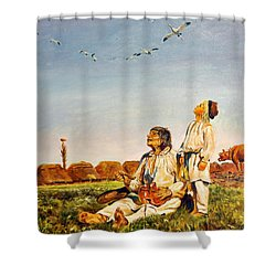 Shower Curtain featuring the painting End Of The Summer- The Storks by Henryk Gorecki