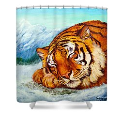 Shower Curtain featuring the painting  Tiger Sleeping In Snow by Bob and Nadine Johnston