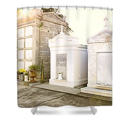 Shower Curtain featuring the photograph   Tombstones  by Erika Weber