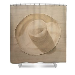 Travelling Hat On Dusty Table Shower Curtain by Lincoln Seligman