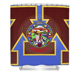U Of M Minnesota State Flag Shower Curtain by Daniel Hagerman