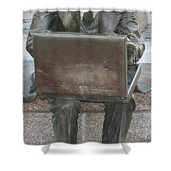 Shower Curtain featuring the photograph  Wall Street Memorial Statue by John Telfer