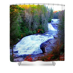 Shower Curtain featuring the photograph  Waterfall At Dupont Forest Nc 2 by Annie Zeno