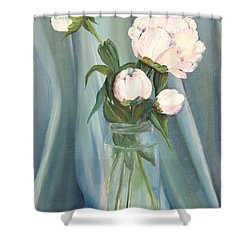 White Flower Purity Shower Curtain
