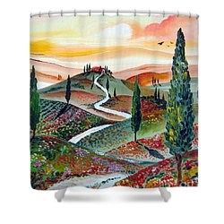 Winding Country Road Among The Hills Of Tuscany Shower Curtain