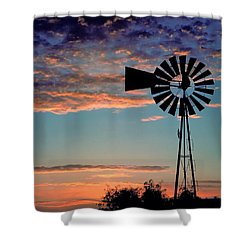Windmill At Dawn Shower Curtain by David and Carol Kelly