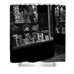 Shower Curtain featuring the photograph  Window Display Night Of Elvis Presley's Death Recordland Portland Maine  1977 by David Lee Guss