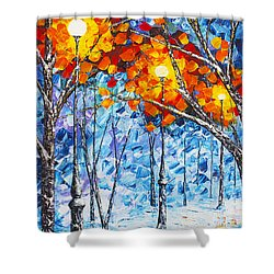 Shower Curtain featuring the painting  Silence Winter Night Light Reflections Original Palette Knife Painting by Georgeta Blanaru