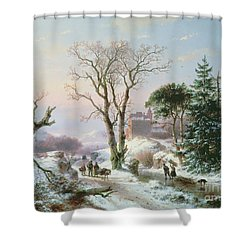 Wooded Winter River Landscape Shower Curtain by  Andreas Schelfhout