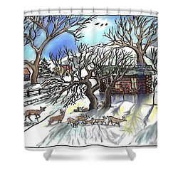 Wyoming Winter Street Scene Shower Curtain by Dawn Senior-Trask
