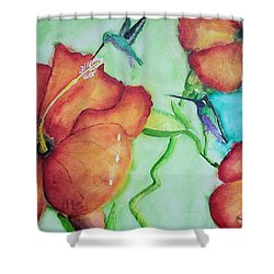 000002 Water Color Humming Birds Shower Curtain