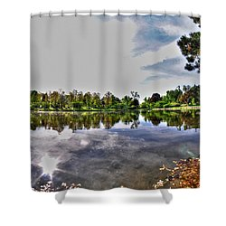 002 Reflecting At Forest Lawn Shower Curtain by Michael Frank Jr