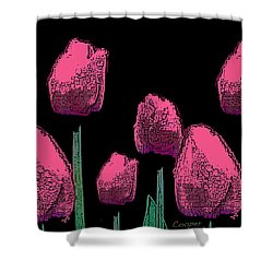010 Hot Pink Tulips 2a Shower Curtain