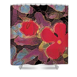 044 Cosmic Impatiens 6 With Blue Shower Curtain