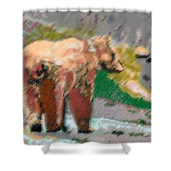 081914 Pastel Painting Grizzly Bear Shower Curtain