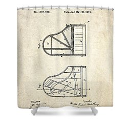 1878 Steinway Grand Piano Forte Patent Art S. 1 Shower Curtain by Gary Bodnar