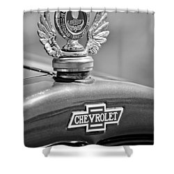 1928 Chevrolet Stake Bed Pickup Hood Ornament Shower Curtain by Jill Reger