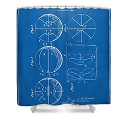 1929 Basketball Patent Artwork - Blueprint Shower Curtain by Nikki Marie Smith
