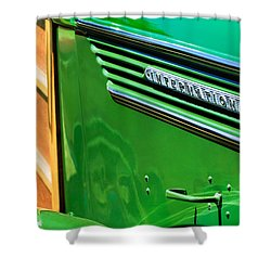 1937 International D-2 Station Wagon Side Emblem Shower Curtain by Jill Reger