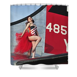 1940s Style Pin-up Girl Standing Shower Curtain by Christian Kieffer